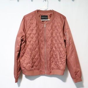 Forever 21 Plus dusty rose pink quilt satin jacket